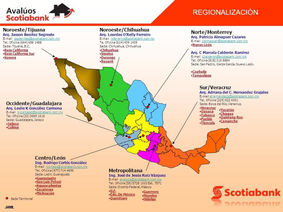 REGIONALIZACIÓN Noroeste/Tijuana Noroeste/Chihuahua Norte/Monterrey
