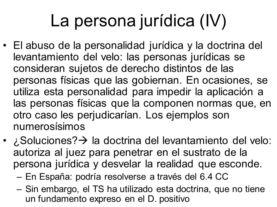 La persona jurídica (IV)