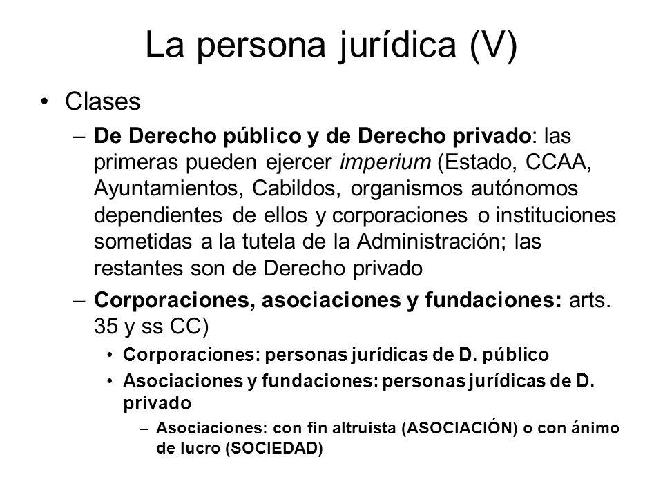La persona jurídica (V)