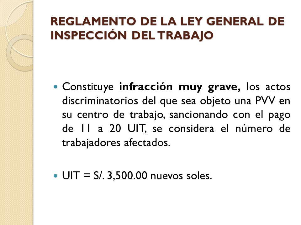 REGLAMENTO DE LA LEY GENERAL DE INSPECCIÓN DEL TRABAJO