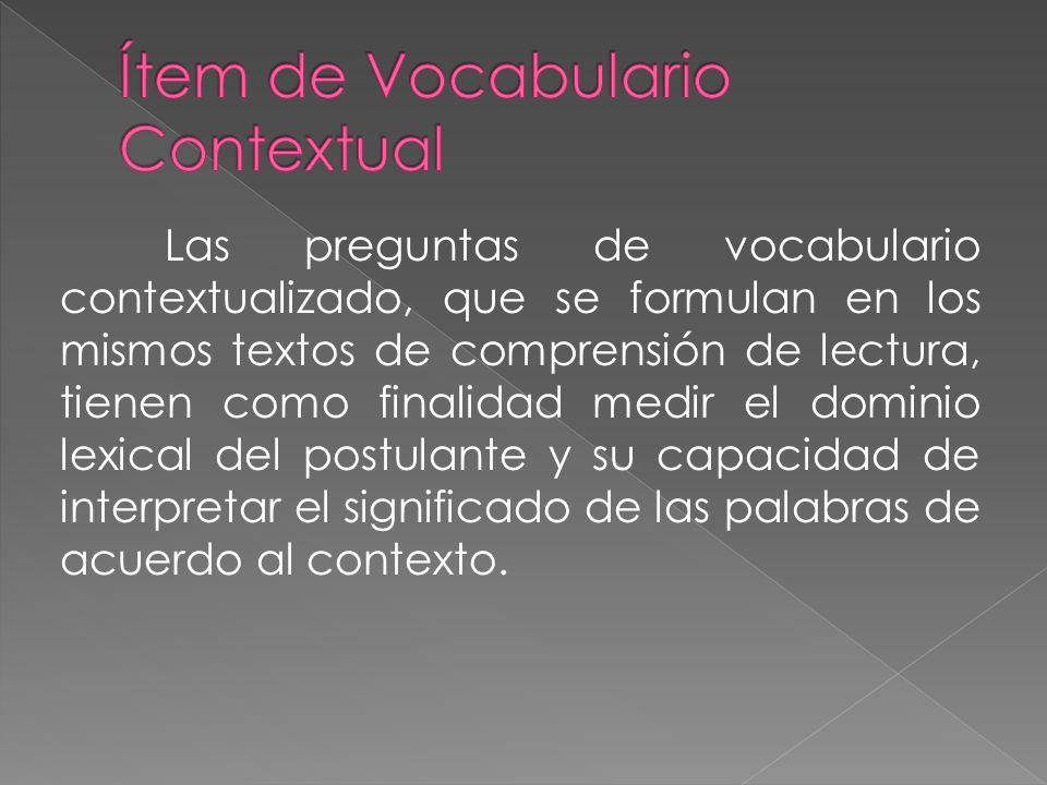 Ítem de Vocabulario Contextual