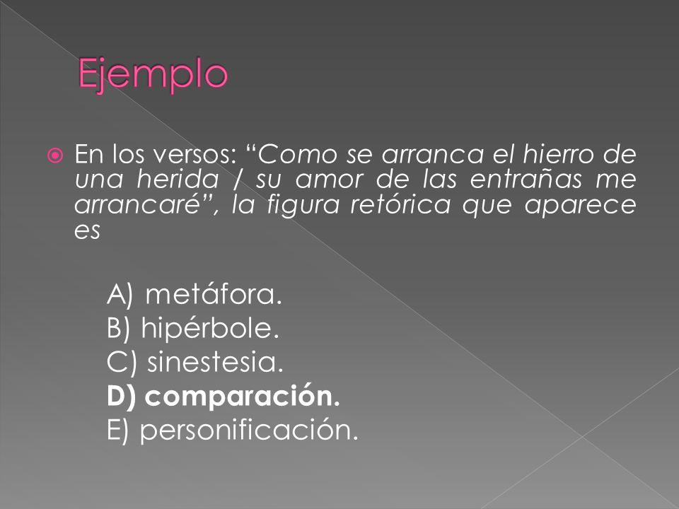 Ejemplo A) metáfora. B) hipérbole. C) sinestesia. D) comparación.