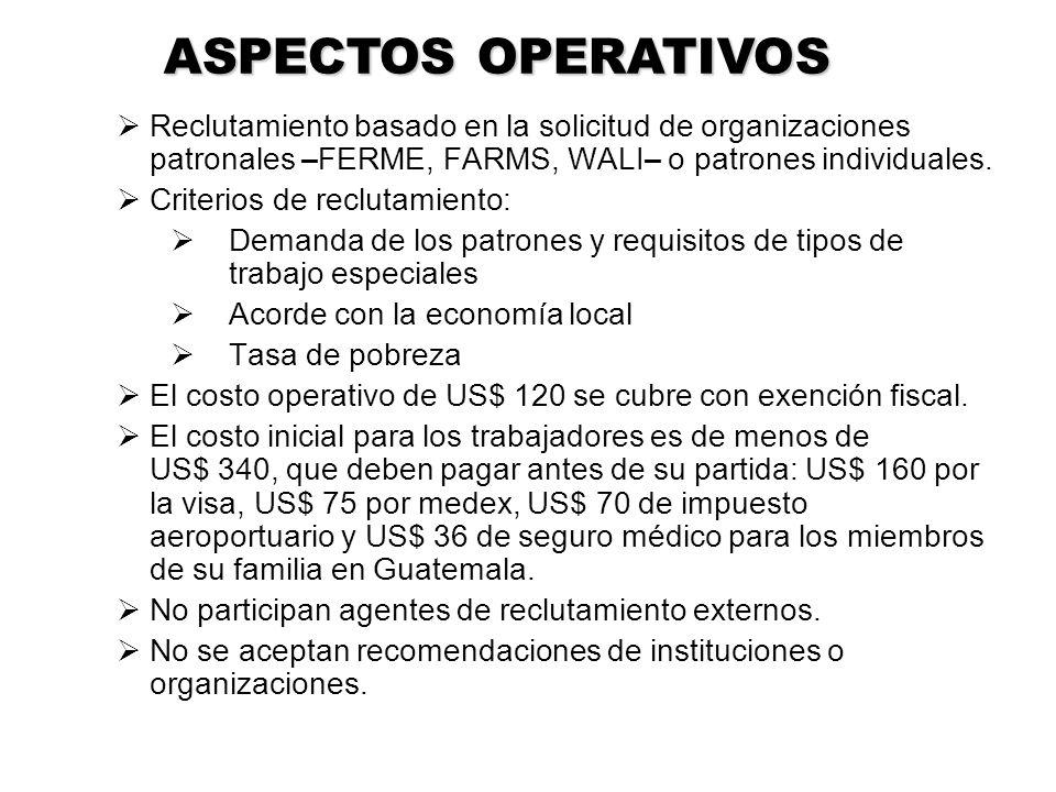 ASPECTOS OPERATIVOS Reclutamiento basado en la solicitud de organizaciones patronales –FERME, FARMS, WALI– o patrones individuales.