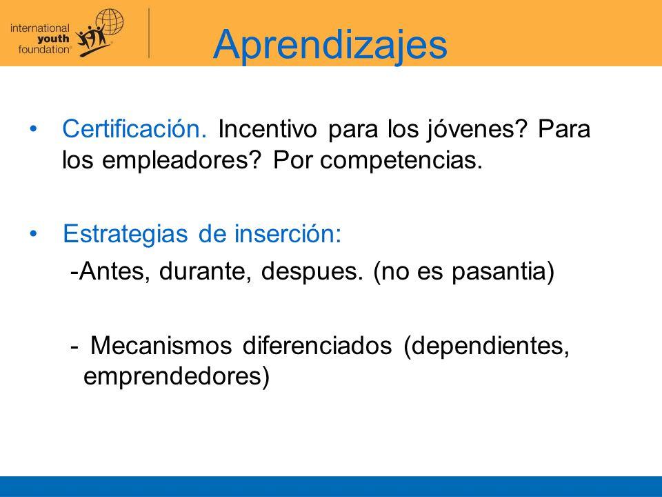Aprendizajes Certificación. Incentivo para los jóvenes Para los empleadores Por competencias. Estrategias de inserción: