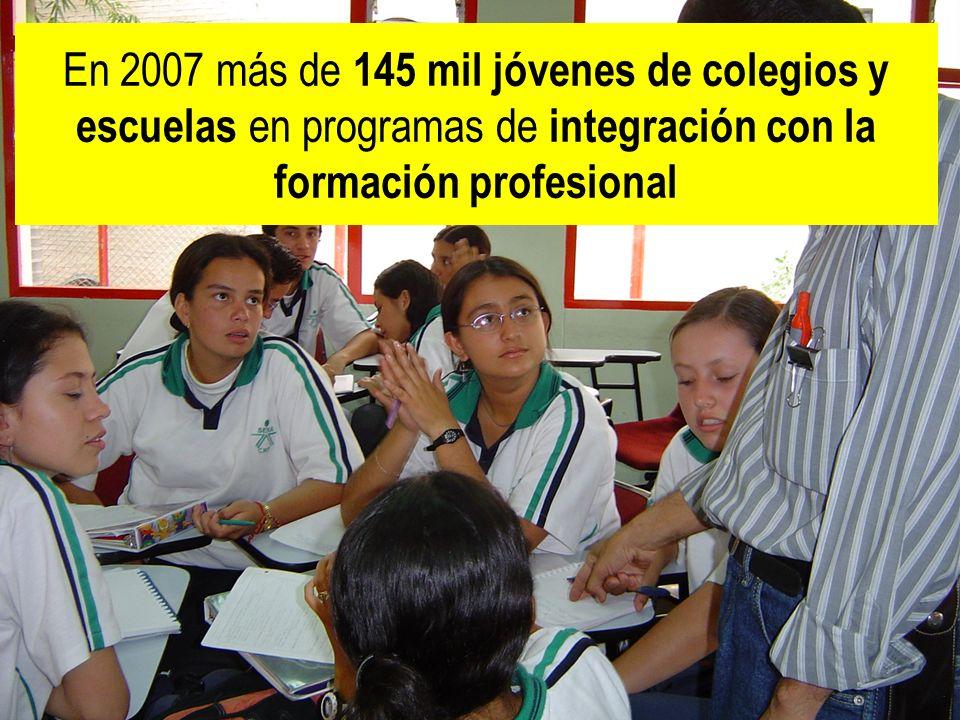 En 2007 más de 145 mil jóvenes de colegios y escuelas en programas de integración con la formación profesional