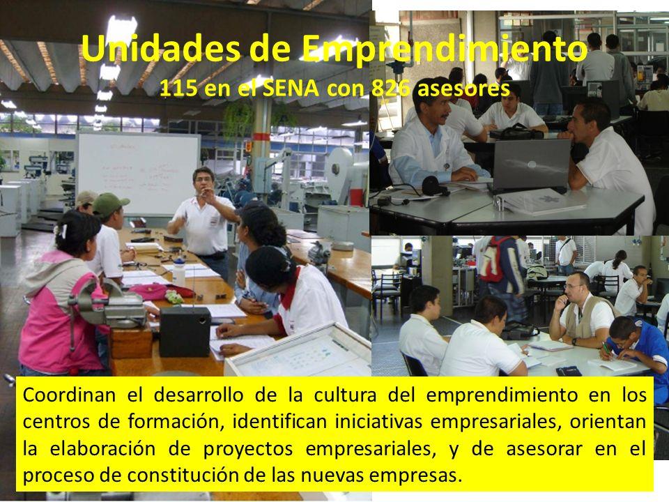 Unidades de Emprendimiento 115 en el SENA con 826 asesores