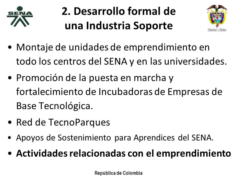 2. Desarrollo formal de una Industria Soporte