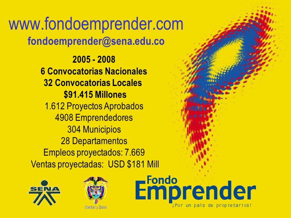 6 Convocatorias Nacionales 32 Convocatorias Locales $91.415 Millones