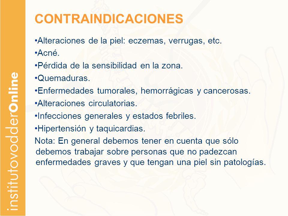 CONTRAINDICACIONES Alteraciones de la piel: eczemas, verrugas, etc.