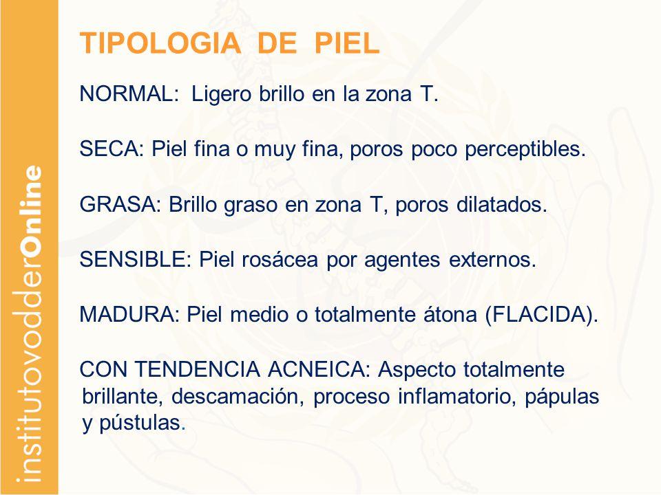 TIPOLOGIA DE PIEL NORMAL: Ligero brillo en la zona T.
