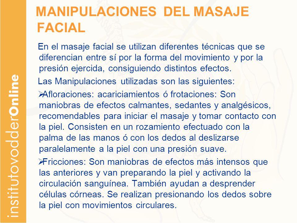 MANIPULACIONES DEL MASAJE FACIAL