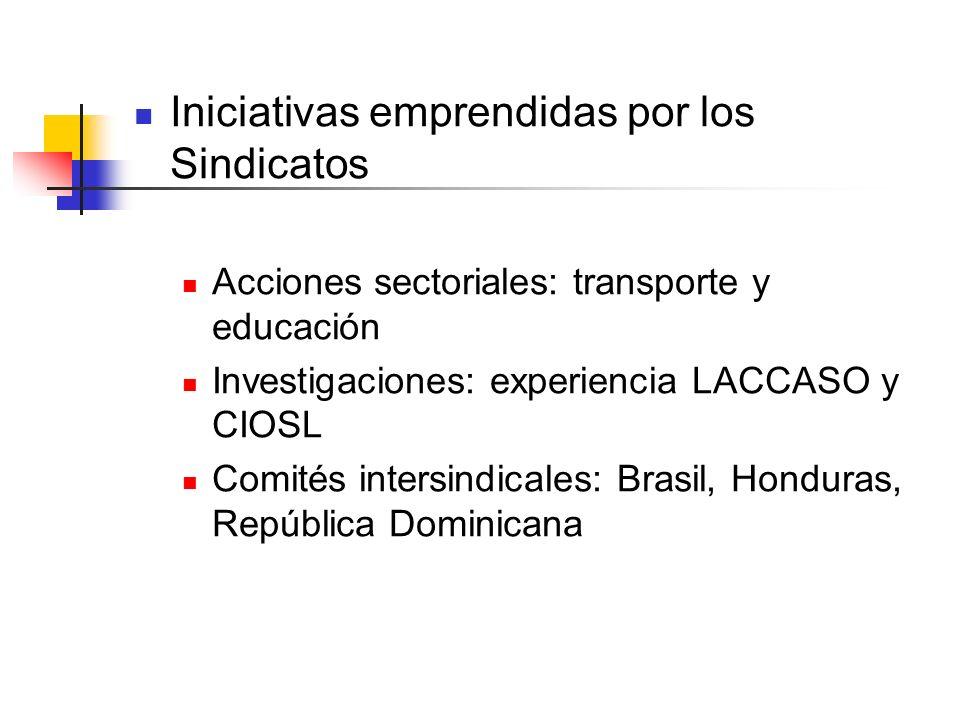 Iniciativas emprendidas por los Sindicatos