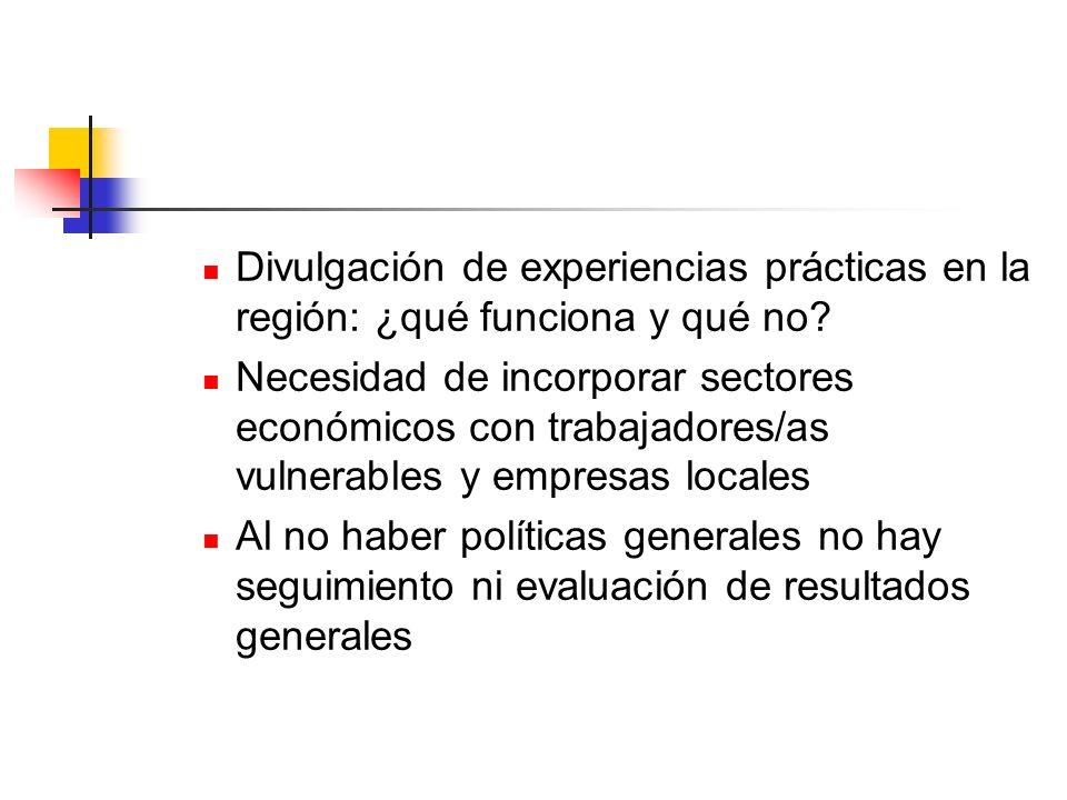 Divulgación de experiencias prácticas en la región: ¿qué funciona y qué no