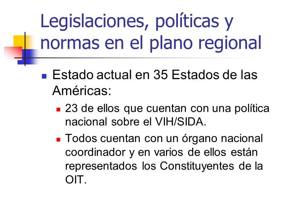 Legislaciones, políticas y normas en el plano regional