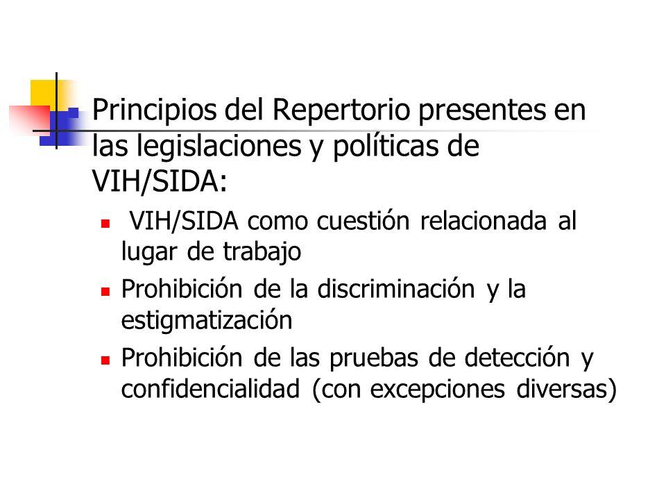 Principios del Repertorio presentes en las legislaciones y políticas de VIH/SIDA: