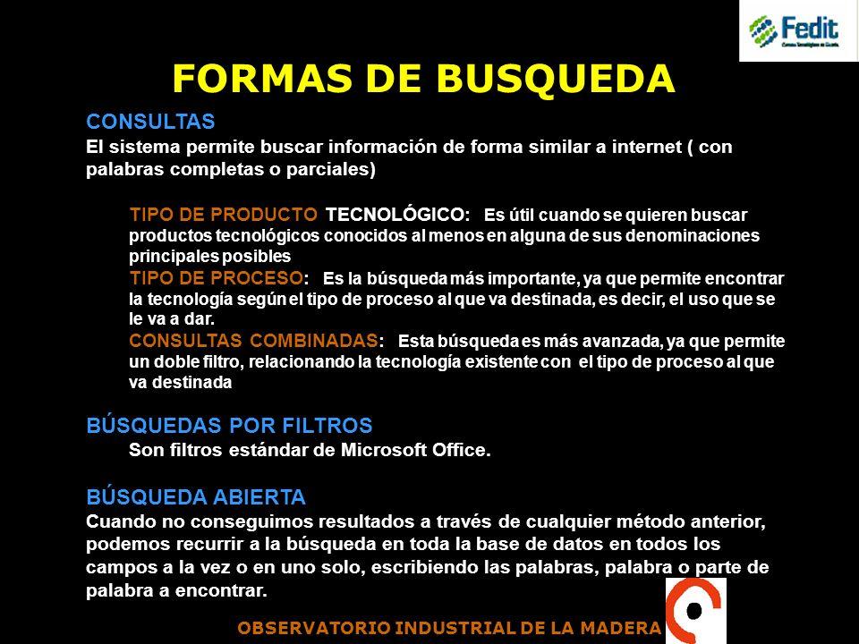 FORMAS DE BUSQUEDA CONSULTAS BÚSQUEDAS POR FILTROS BÚSQUEDA ABIERTA