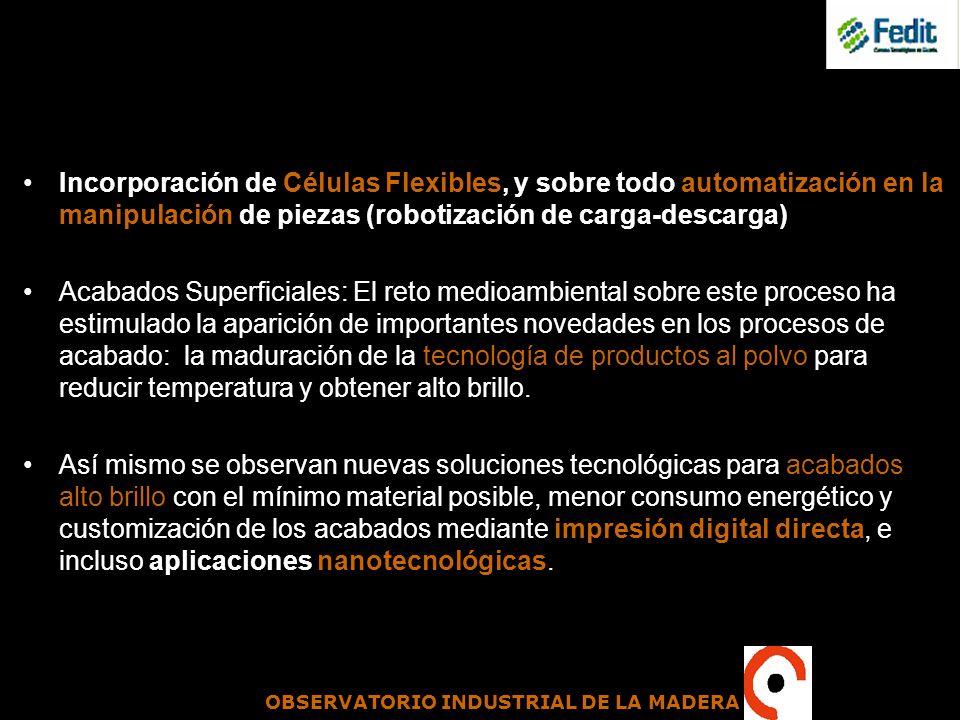 Incorporación de Células Flexibles, y sobre todo automatización en la manipulación de piezas (robotización de carga-descarga)