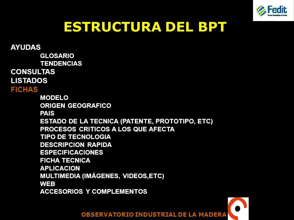 ESTRUCTURA DEL BPT AYUDAS CONSULTAS LISTADOS FICHAS GLOSARIO