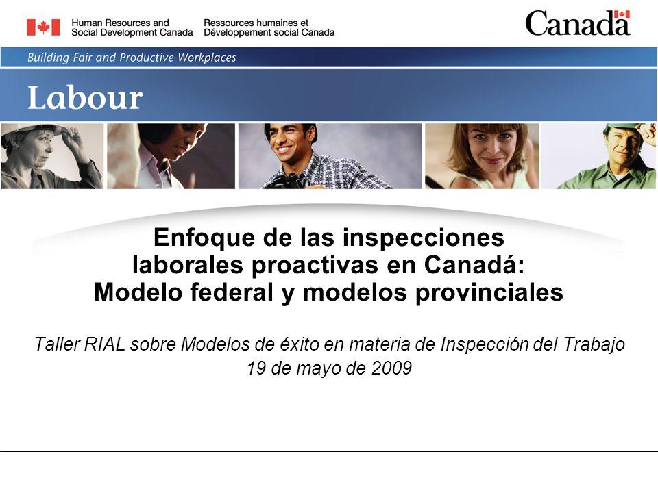 Enfoque de las inspecciones laborales proactivas en Canadá: Modelo federal y modelos provinciales