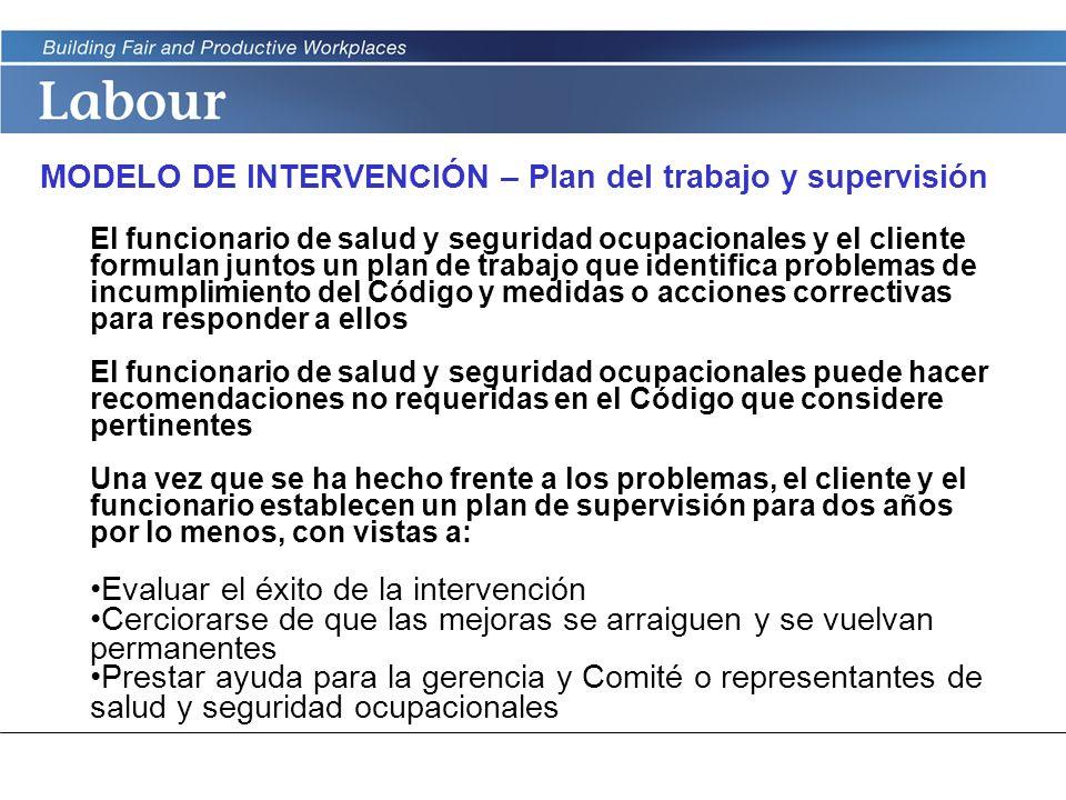 MODELO DE INTERVENCIÓN – Plan del trabajo y supervisión