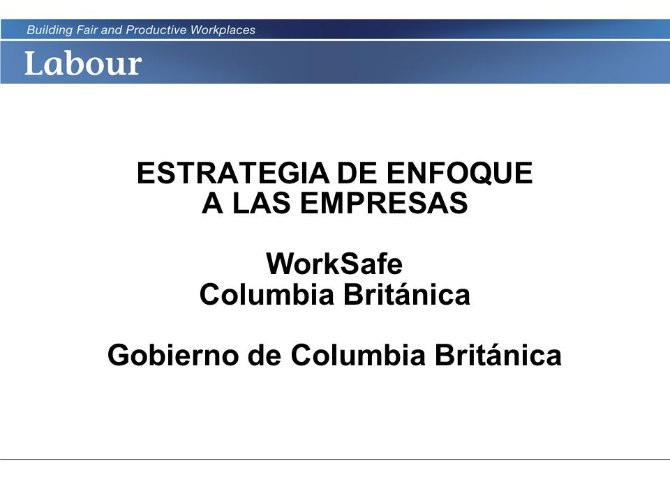 ESTRATEGIA DE ENFOQUE A LAS EMPRESAS WorkSafe Columbia Británica Gobierno de Columbia Británica