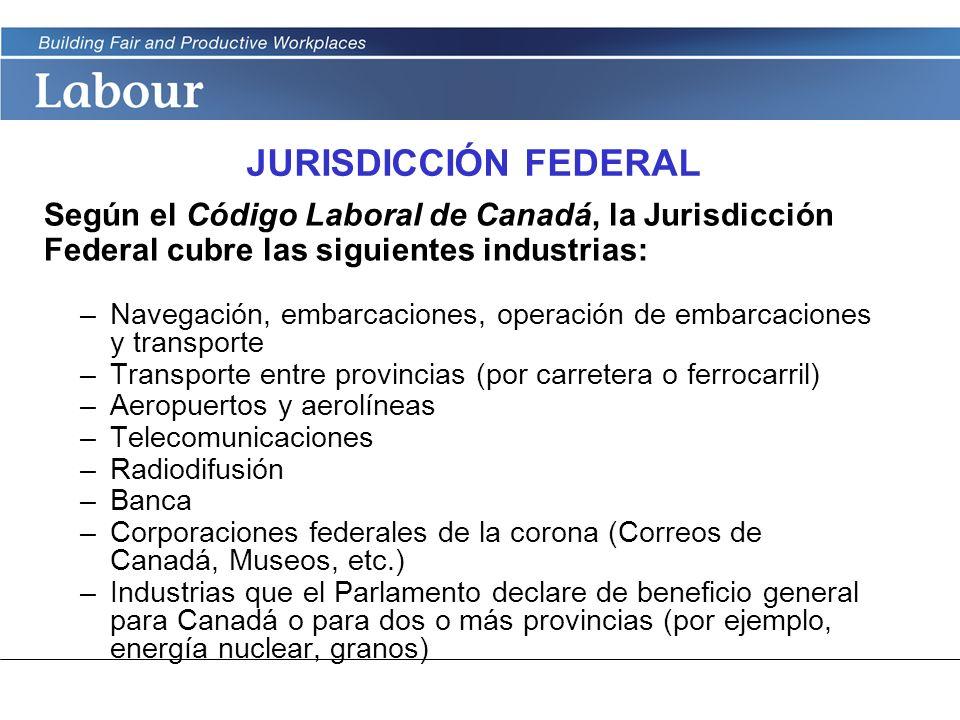 JURISDICCIÓN FEDERAL Según el Código Laboral de Canadá, la Jurisdicción Federal cubre las siguientes industrias: