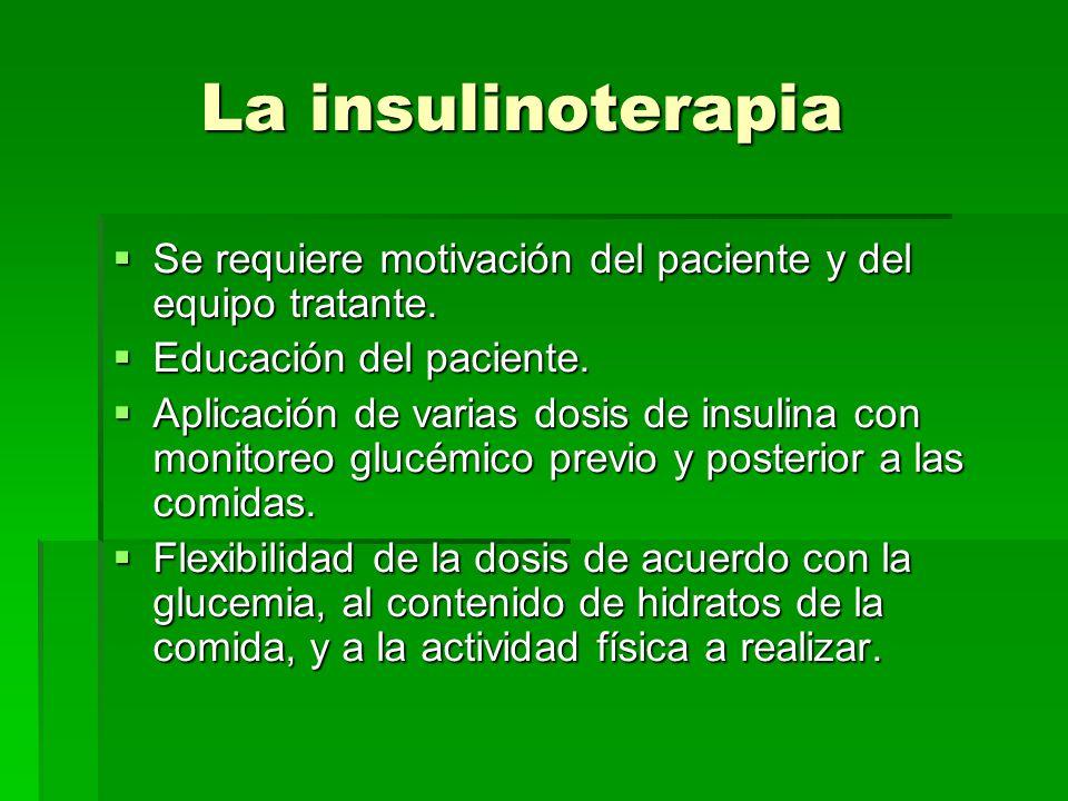 La insulinoterapia Se requiere motivación del paciente y del equipo tratante. Educación del paciente.