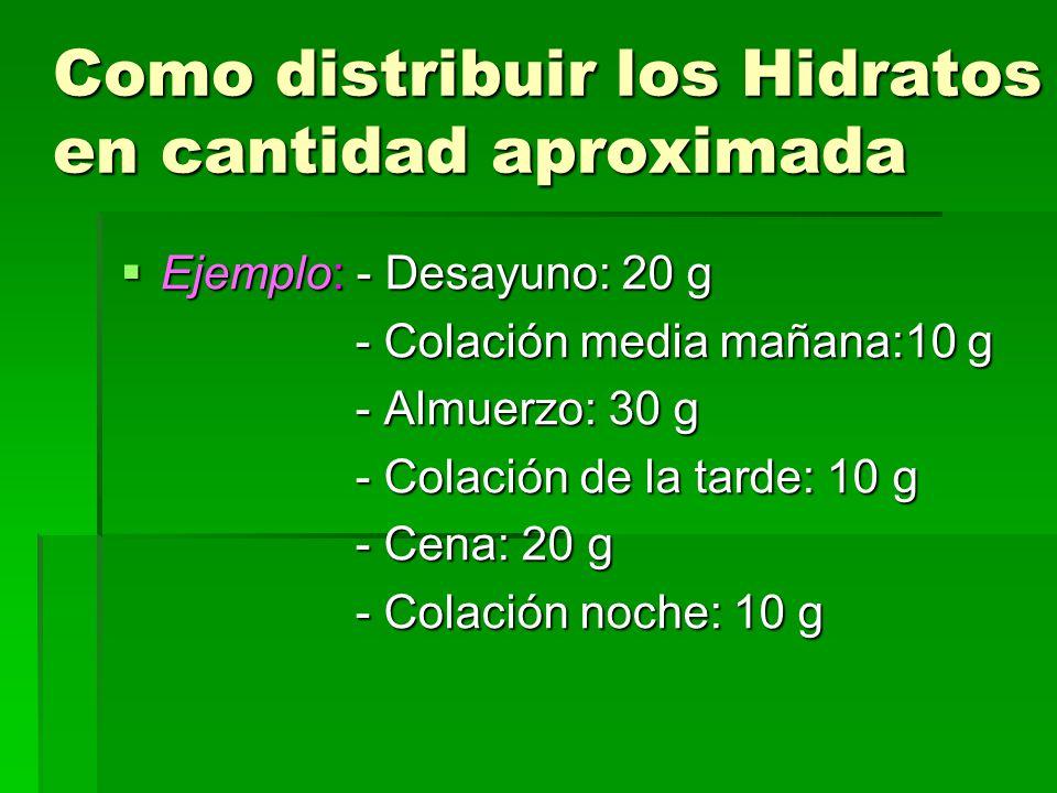 Como distribuir los Hidratos en cantidad aproximada