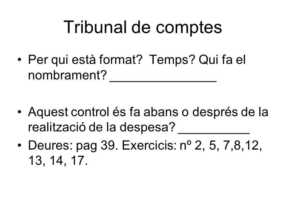 Tribunal de comptes Per qui està format Temps Qui fa el nombrament _______________.