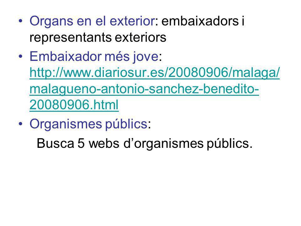 Organs en el exterior: embaixadors i representants exteriors