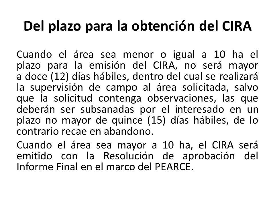 Del plazo para la obtención del CIRA