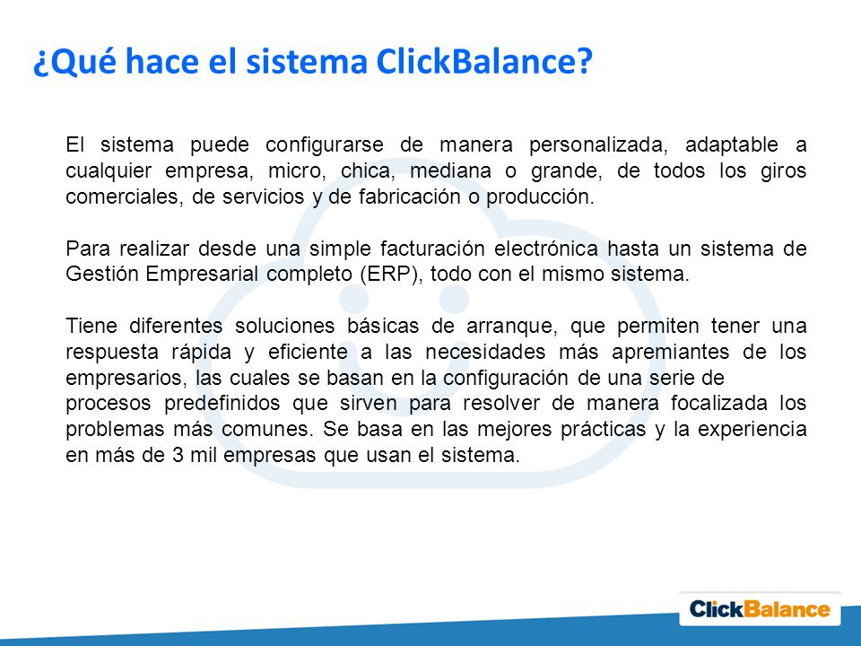 ¿Qué hace el sistema ClickBalance