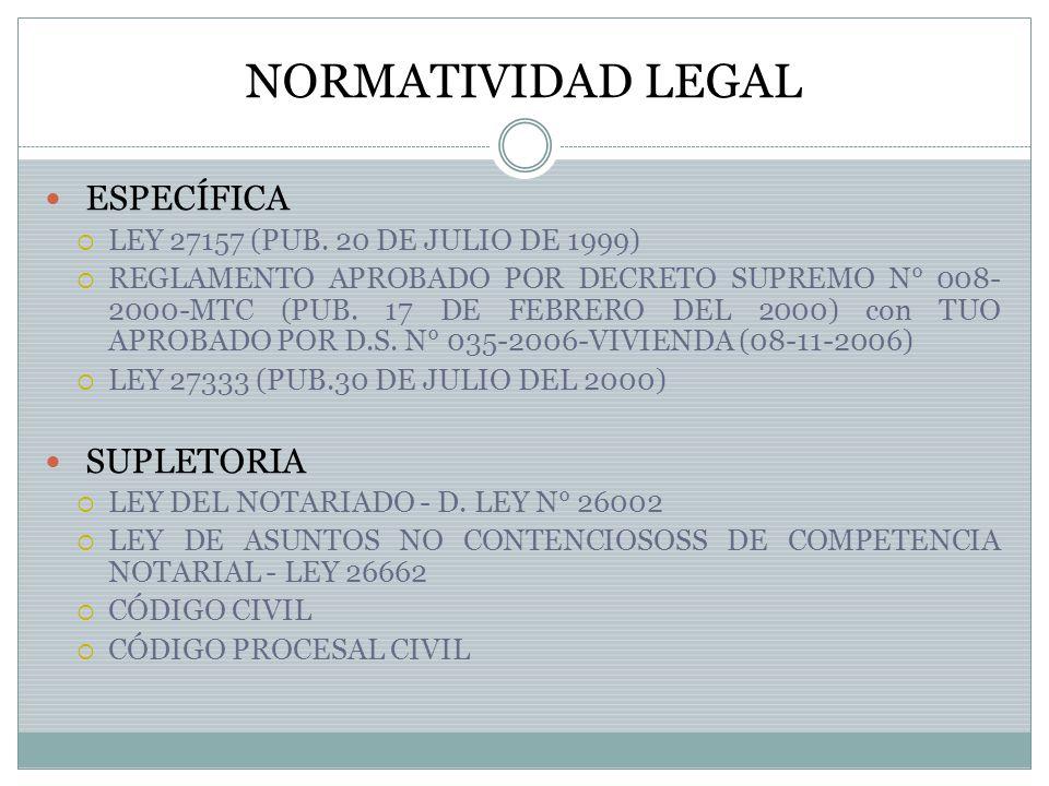 NORMATIVIDAD LEGAL ESPECÍFICA SUPLETORIA