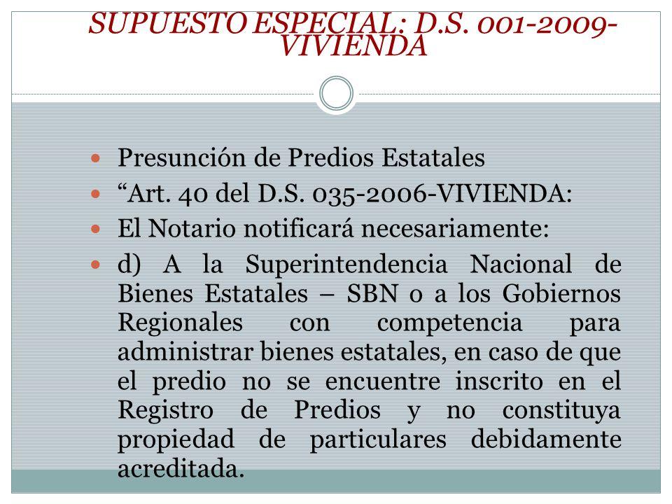 SUPUESTO ESPECIAL: D.S. 001-2009-VIVIENDA