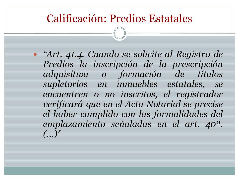 Calificación: Predios Estatales