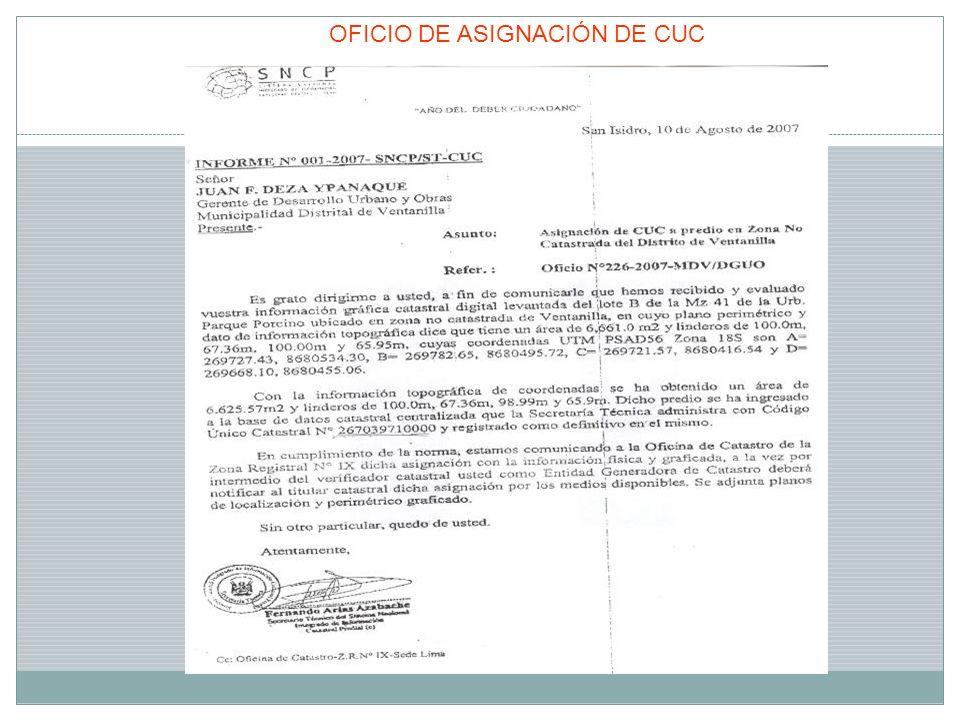 OFICIO DE ASIGNACIÓN DE CUC