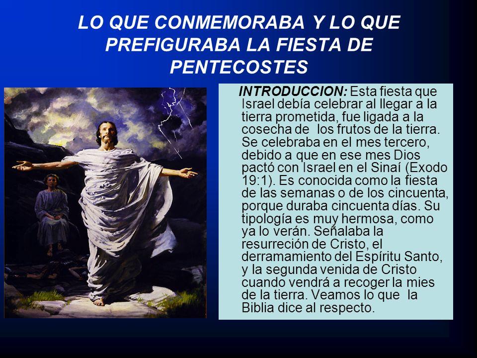 LO QUE CONMEMORABA Y LO QUE PREFIGURABA LA FIESTA DE PENTECOSTES