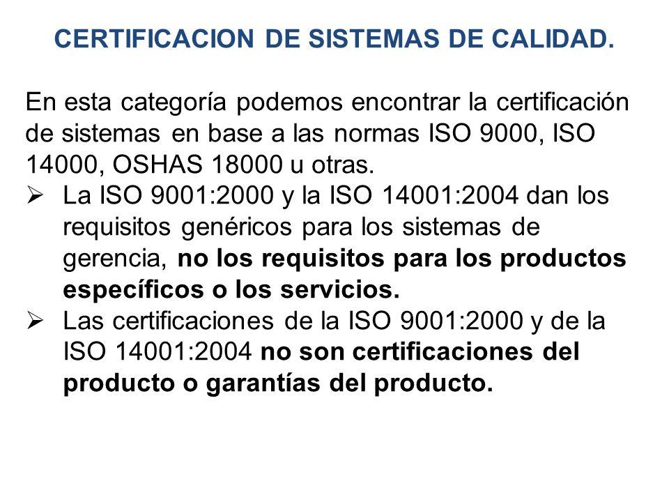 CERTIFICACION DE SISTEMAS DE CALIDAD.