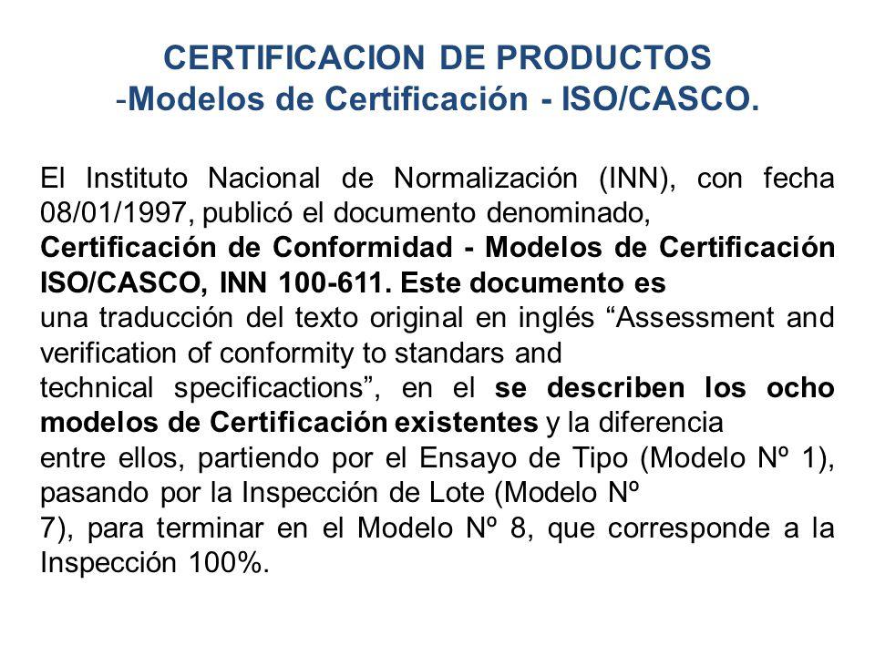 CERTIFICACION DE PRODUCTOS Modelos de Certificación - ISO/CASCO.