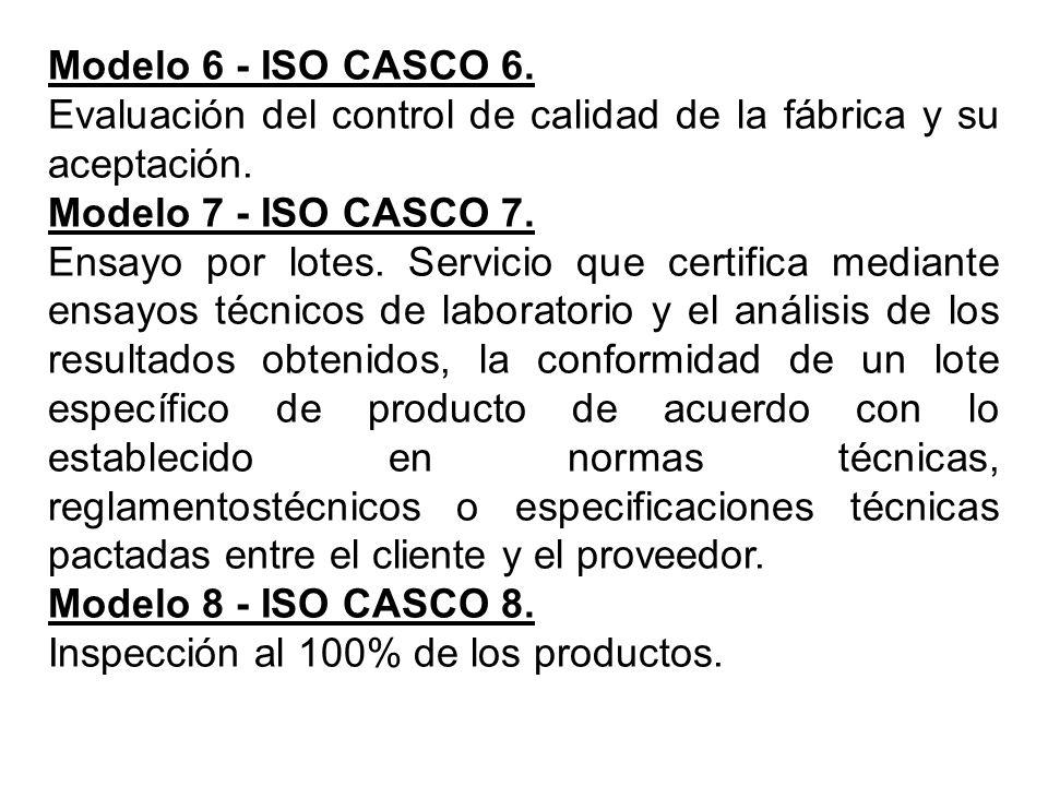 Modelo 6 - ISO CASCO 6. Evaluación del control de calidad de la fábrica y su aceptación. Modelo 7 - ISO CASCO 7.