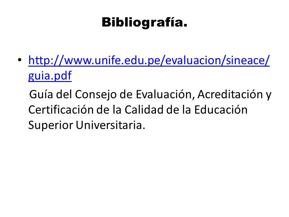 Bibliografía. http://www.unife.edu.pe/evaluacion/sineace/guia.pdf.