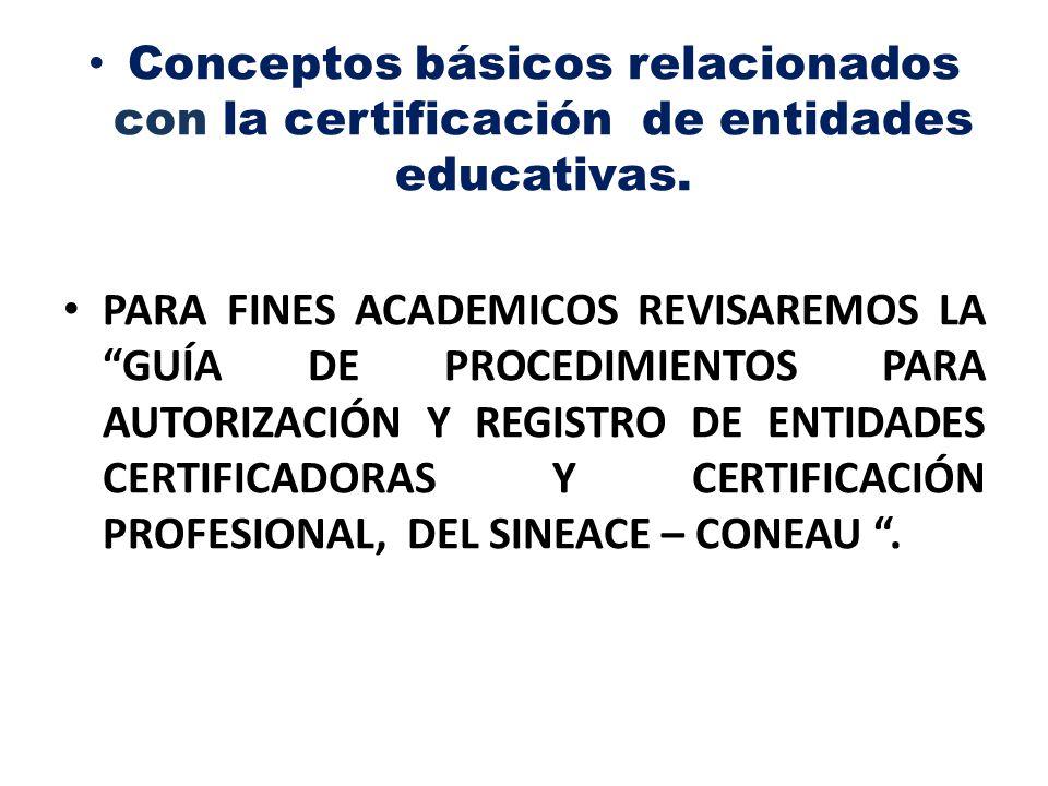 Conceptos básicos relacionados con la certificación de entidades educativas.