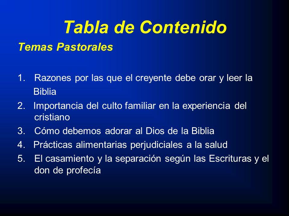 Tabla de Contenido Temas Pastorales