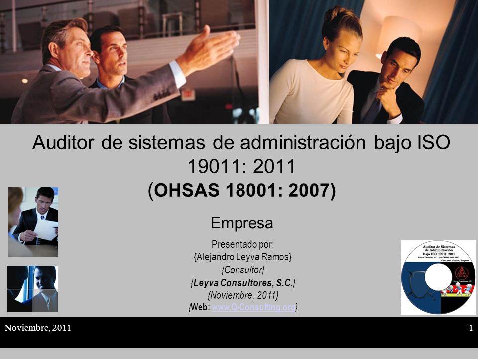 Auditor de sistemas de administración bajo ISO 19011: 2011 (OHSAS 18001: 2007)