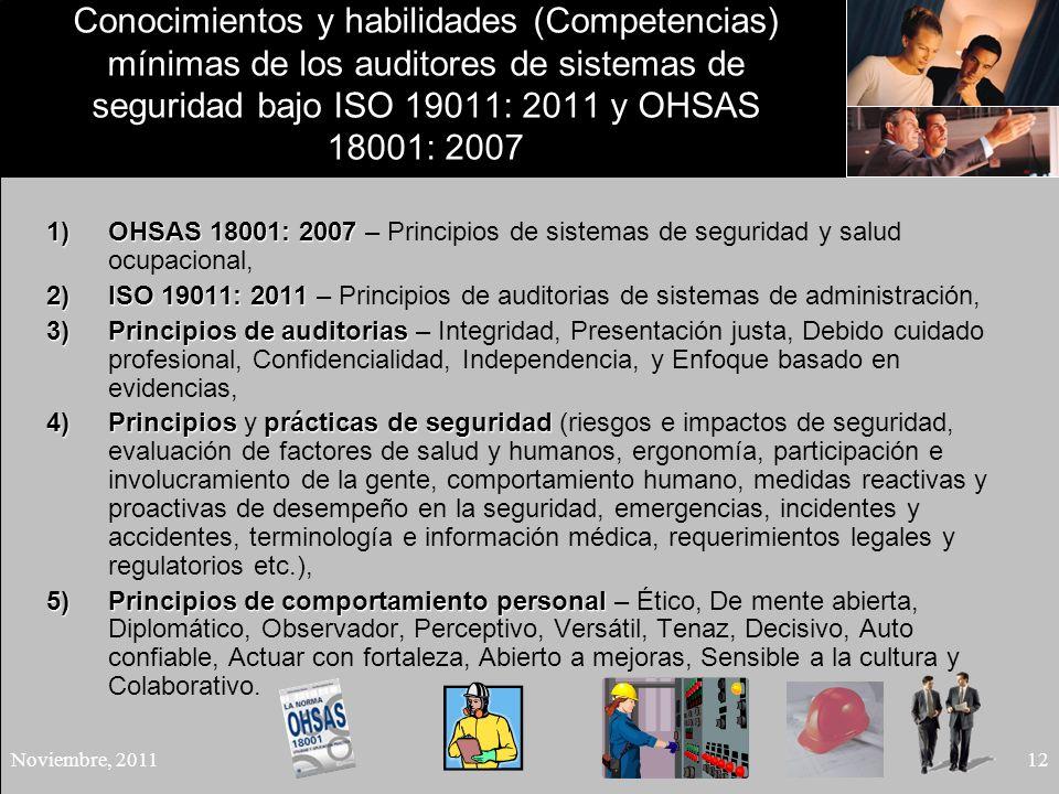 Conocimientos y habilidades (Competencias) mínimas de los auditores de sistemas de seguridad bajo ISO 19011: 2011 y OHSAS 18001: 2007