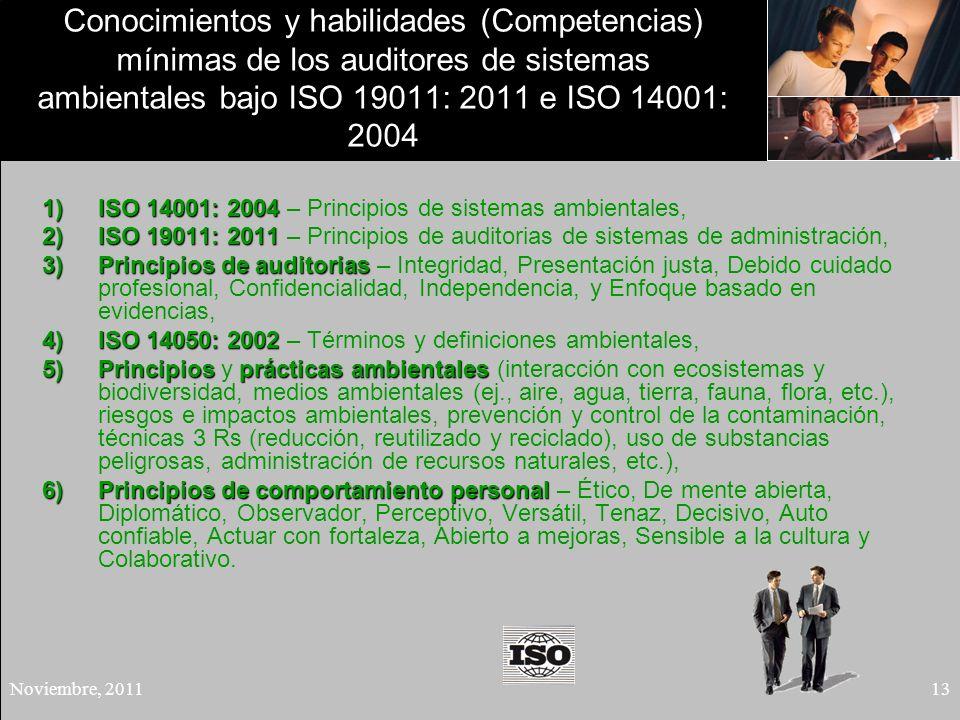 Conocimientos y habilidades (Competencias) mínimas de los auditores de sistemas ambientales bajo ISO 19011: 2011 e ISO 14001: 2004