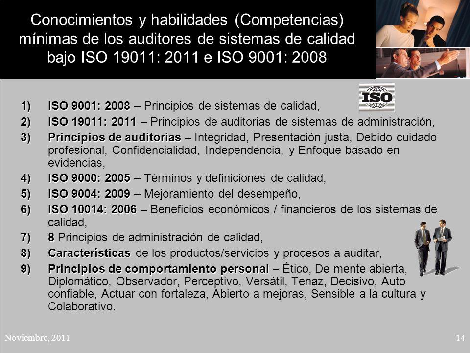 Conocimientos y habilidades (Competencias) mínimas de los auditores de sistemas de calidad bajo ISO 19011: 2011 e ISO 9001: 2008