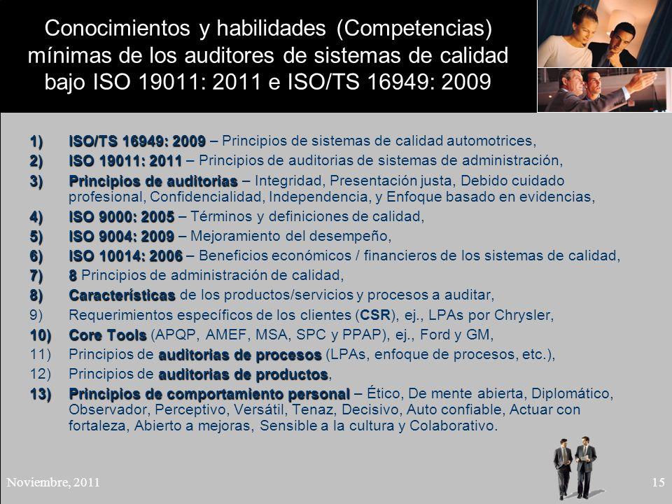 Conocimientos y habilidades (Competencias) mínimas de los auditores de sistemas de calidad bajo ISO 19011: 2011 e ISO/TS 16949: 2009
