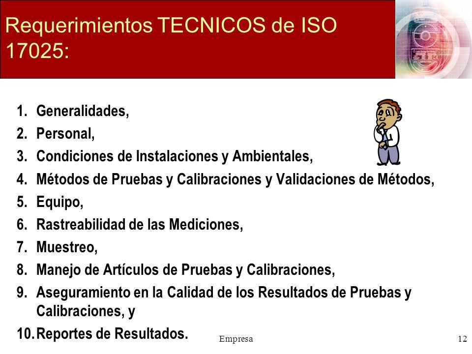 Requerimientos TECNICOS de ISO 17025: