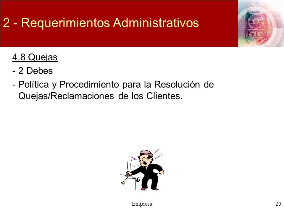 2 - Requerimientos Administrativos